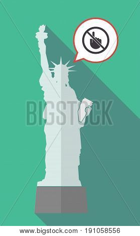Long Shadow Statue Of Liberty With  A Touching Hand  In A Not Allowed Signal