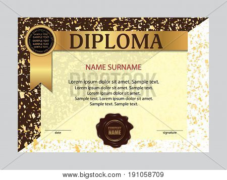 Template diploma or certificate. Elegant background. Vector illustration.