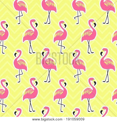 Beautiful seamless pattern with flamingo. Pink flamingo on bright yellow background, trendy fashion textile print, pop art vector design. Retro 80s style