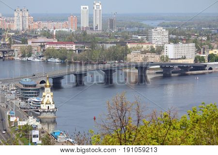 KIEV, UKRAINE - MAY 1, 2011: This is the Harbor Bridge from Kiev Podol district to Rybvlsky Island.