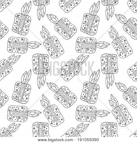 Sseamless Vector Hand Drawn Childish Pattern With Fruits. Cute Childlike Pineapple With Leaves, Seed