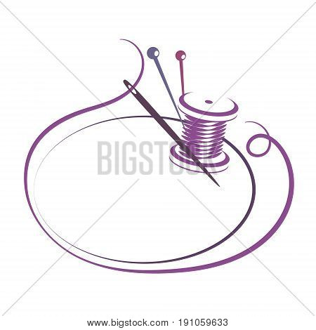 Thread and needle silhouette for sewing vector