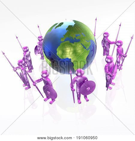 Violet armed men with globe on white background 3D illustration.
