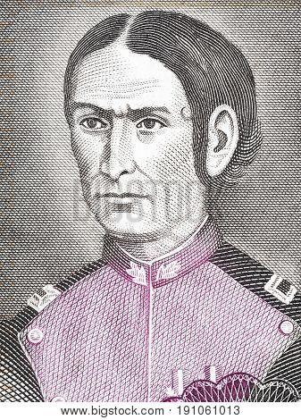 Juana Azurduy de Padilla portrait from Bolivian money
