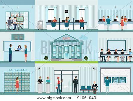 Bank building and finance infographic with office front desk waiting room entrance self service atm banking and people working finance concept vector illustration.