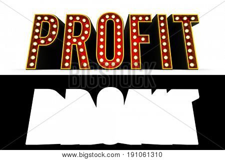 Typical theater style 3D letters spelling the word Profit over white background with alpha map for easy isolation