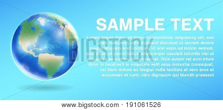 real planet earth globe  on a blue background