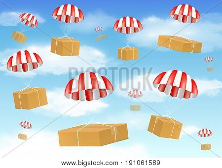 group of carton box with parachute on sky
