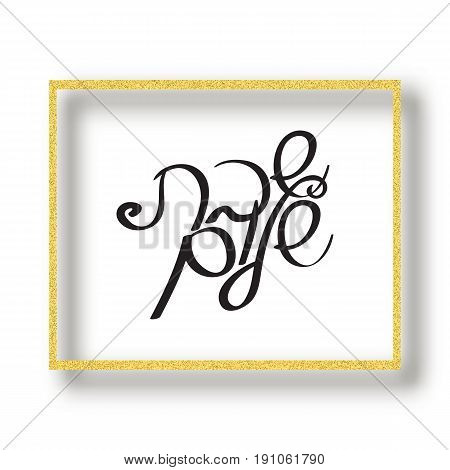 Shabbat Shalom in Hebrew, calligraphic hand drawn lettering in golden glitter frame, vector illustration. Typography design jewish quote symbol isolated on white background.