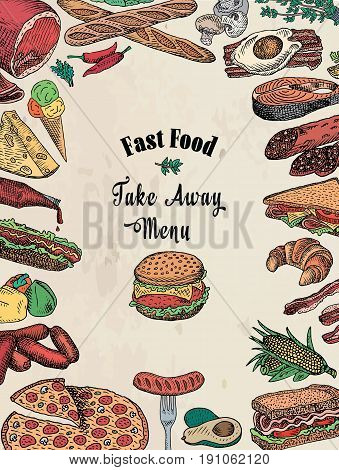 american, fast food, take away, bacon,  bread, breakfast, burger, cheese, chicken, croissant,  eggs, fish, fork, hamburger, ketchup, loaf, omelet, pepper, pizza, salami, salmon, sandwich, sausage