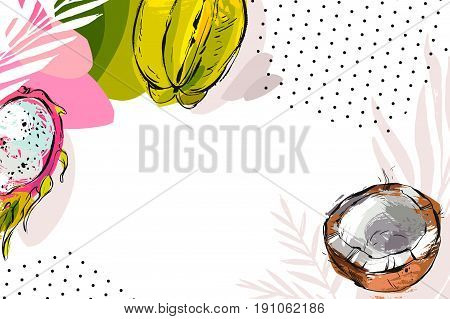 Hand drawn vector abstract artistic tropical header with exotic fruits coconut, papaya, carambola , dragon fruit and polka dots texture isolated on white background.