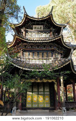 Temple in the Jianchuan town in China in the Yunnan province