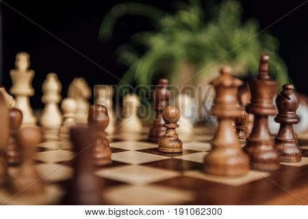 Chess Set On The Chess Board With Selective Focus On Black Chess Pieces