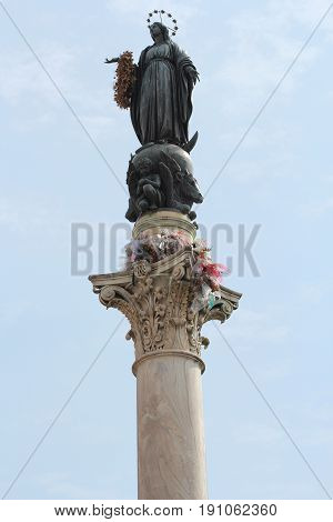 The Column of the Immaculate Conception, monument depicting the Blessed Virgin Mary, located in Piazza Mignanelli , Rome, Italy.