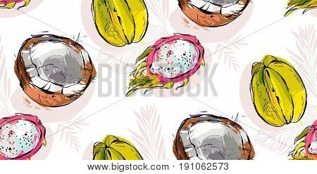 Hand drawn vector abstract freehand textured unusual seamless pattern with exotic tropical fruits dragon fruit, coconut and carambola isolated on white background