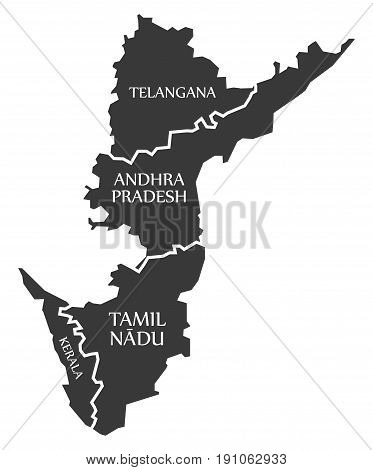 Telangana - Andhra Pradesh - Tamil Nadu - Kerala Map Illustration Of Indian States
