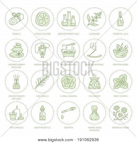 Essential oils aromatherapy vector line icons set. Elements - aroma therapy diffuser, oil burner, candles, incense sticks. Linear pictogram with editable strokes for spa salon.