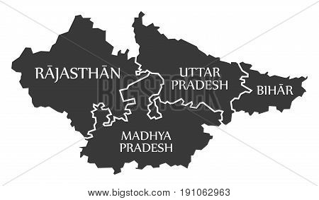 Rajasthan - Madhya Pradesh - Uttar Pradesh - Bihar Map Illustration Of Indian States