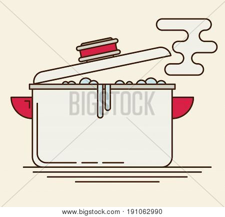 Boiling water in pan. Flat vector for design and web