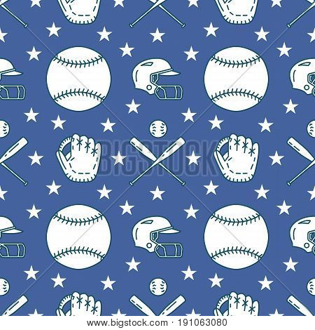 Baseball, softball sport game vector seamless pattern, background with line icons of balls, gloves, bat, helmet. Linear signs for championship, equipment store.