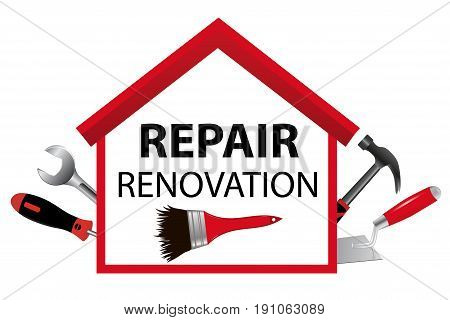 Icon for home renovation and construction. The logo for the business. House with tools. Trowel, hammer, wrench, spanner, screwdriver. Vector illustration.