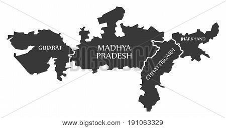 Gujarat - Madhya Pradesh - Chhattisgarh - Jharkhand Map Illustration Of Indian States