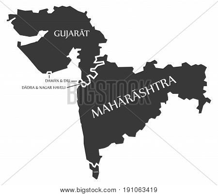 Gujarat - Daman And Diu - Dadra And Nagar Haveli - Maharashtra - Goa Map Illustration Of Indian Stat