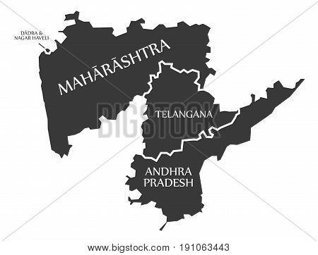 Dadra And Nagar Haveli - Maharashtra - Telangana - Andhra Pradesh Map Illustration Of Indian States