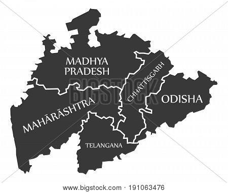 Centered Mainland States Of India Map Illustration