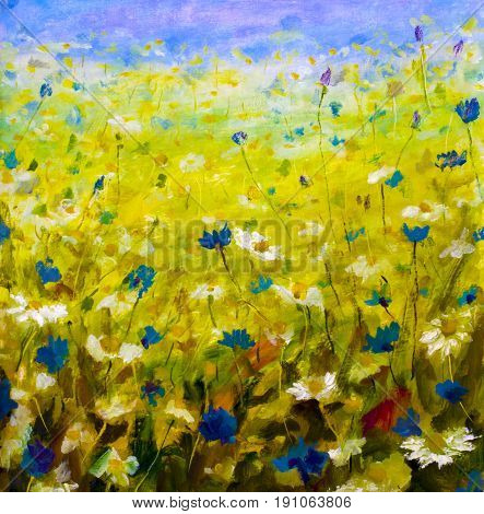 Original oil painting of flowersbeautiful field flowers on canvas. Modern Impressionism.Impasto artwork.