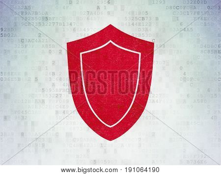 Safety concept: Painted red Shield icon on Digital Data Paper background
