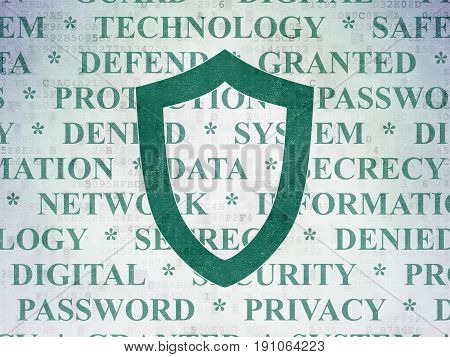 Safety concept: Painted green Contoured Shield icon on Digital Data Paper background with  Tag Cloud