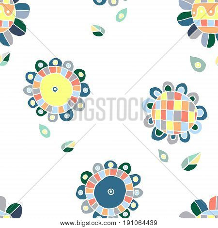 Seamless Vector Floral Pattern, Decorative Cute Hand Drawn Childlike Background With Flowers. Print