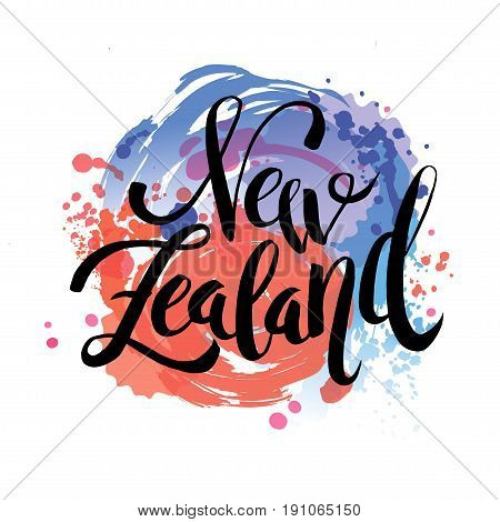 New Zealand The Travel Destination logo - Vector travel company logo design - Country Flag Travel and Tourism concept t shirt graphics - vector illustration