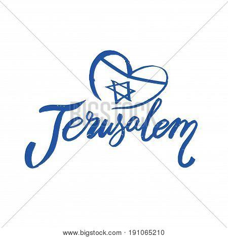 Retro Typography, Vintage Travel Greeting label on white background Jerusalem, Israel, hand drawn lettering, Vector design.