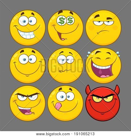Funny Yellow Cartoon Emoji Face Series Character Set 2. Collection With Gray Background