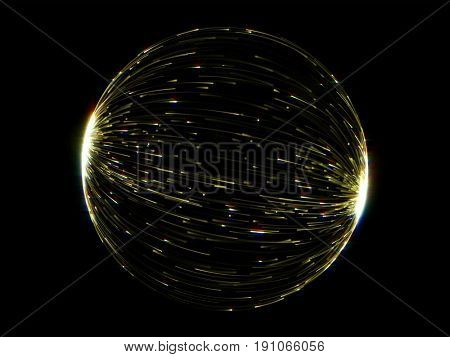 Abstract gold globe sphere of luminous line lights with glare effect on black background. Magic futuristic golden circle light in motion background