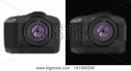 The camera with a weapon is an American and Russian machine gun in the reflection of the lens. Isolated object on white and black background. Vector
