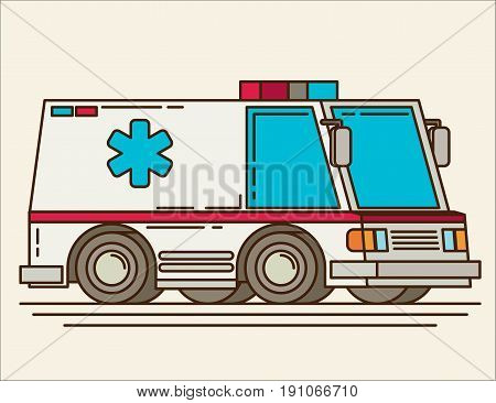 Ambulance cartoon flat vector icon colorful fod design