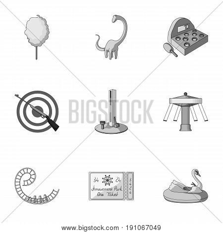 The amusement Park rides. The attributes of a recreational Park, panic room, cotton candy.Amusement Park icon in set collection on monochrome style vector symbol stock web illustration.