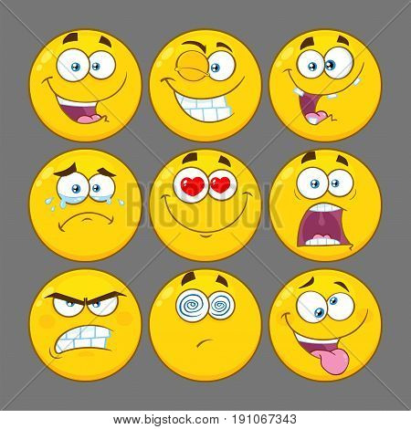 Funny Yellow Cartoon Emoji Face Series Character Set 1. Collection With Gray Background