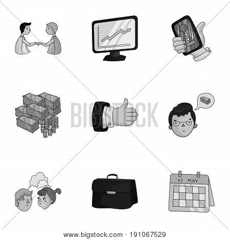 A set of pictures about the transaction, work, office. Office center, analytics.Business conference and ntgotiations icon in set collection on monochrome style vector symbol stock web illustration.