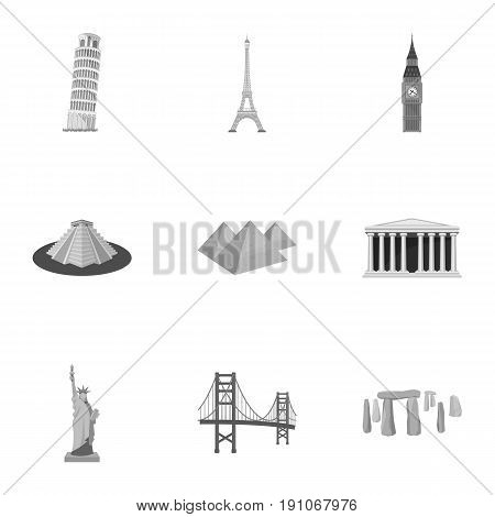 Sights of the countries of the world. Famous buildings and monuments of different countries and cities. Countries icon in set collection on monochrome style vector symbol stock web illustration.