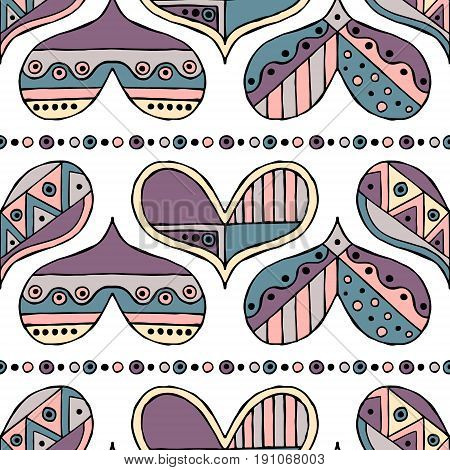 Vector hand drawn seamless pattern, decorative stylized childlike hearts. Doodle style, tribal graphic illustration Cute hand drawing in vintage colors. Series of doodle, cartoon, sketch illustrations