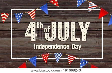 4th July - Independence day of United States of America - festive vector set with different holiday symbols isolated on wood background