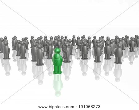 Green and grey men on white reflective background 3D illustration.