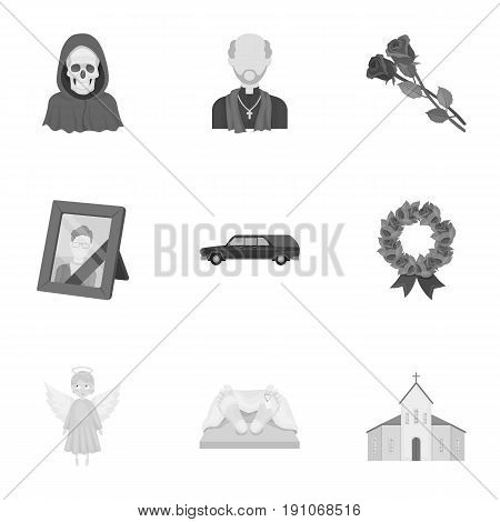 Funeral ceremony, cemetery, coffins, priest.Funeral ceremony icon in set collection on monochrome style vector symbol stock web illustration.