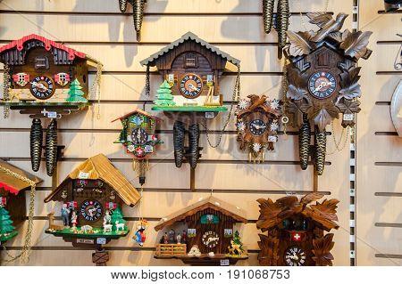 GRINDELWALD SWITZERLAND - JUNE 14 2013: Cuckoo-clocks store at Grindelwald village. Switzerland