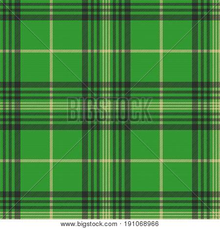 Seamless plaid green tartan check fabric texture. Vector illustration.