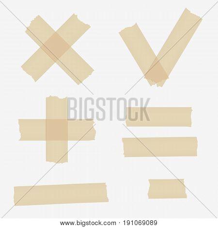 Set of adhesive tape symbols on gray background.
